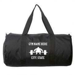 Custom Gym Name and City Black Duffel Bag