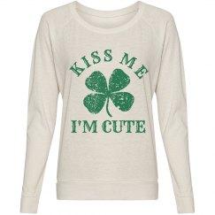 Kiss Me I'm Cute Green Shamrock