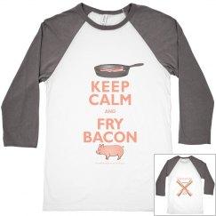 Keep Calm Fry Bacon Raglan Unisex Tee