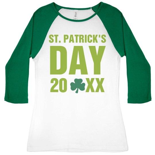d71c3aac2 Drunk 1 Shamrock Ladies Slim Fit 3/4 Sleeve Raglan T-Shirt