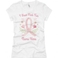 I Wear Pink For Custom Watercolor Ribbon Tee