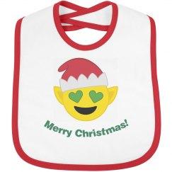 Elf Christmas Emoji Bib  red trim