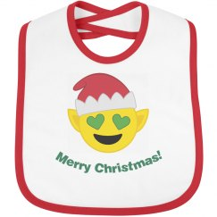 Elf Christmas Emoji Bib  red trim