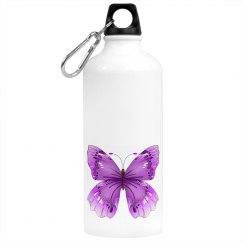 Elegant  Purple Butterfly Beverage Bottle