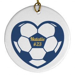 Custom Name Number Soccer Christmas Ornament