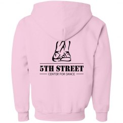 Youth pink zipper front hoodie