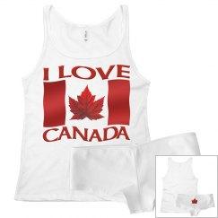 I Love Canada Underwear Sets Lady's Canada Souvenirs
