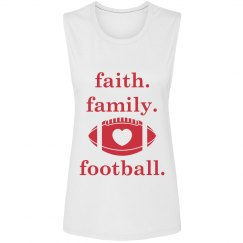 Faith Family Football lowercase muscle tank