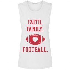 Faith Family Football uppercase muscle tank