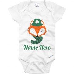 Cute St Patricks Fox Baby Onesie