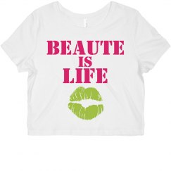 Beaute Is Life Crop-Raspberry/Lime