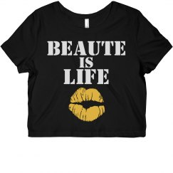 Beaute Is Life Crop-Coral/Yellow