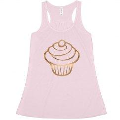 Gold cupcake tank top.