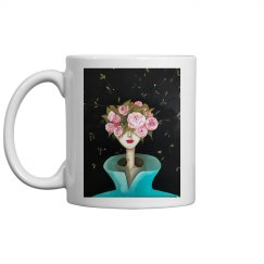 Girl with pink flowers and teal coat mug
