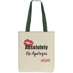 Absolutely No Apologies Red Lips Canvas Tote Bag