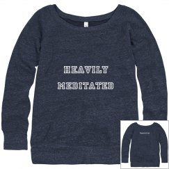 Heavily meditated off the shoulder sweatshirt
