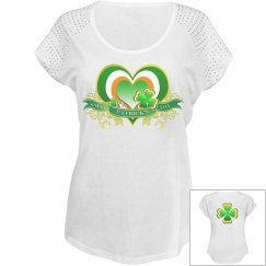 Heart & Clover St Patrick's Day, Bling Top
