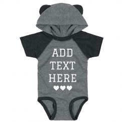 Custom Adorable Baby Bodysuit Hood & Ears