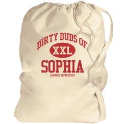 Dirty duds of Sophia laundry bag