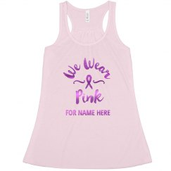 Custom Metallic Breast Cancer Ribbon Racerback