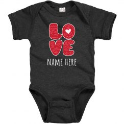 Hearts & Love Custom Name Onesie