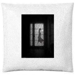 She left (sequin pillow case)