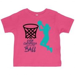 Hot pink toddler tee w/basketball girl graphic