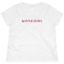 Konnichiwa Black Tee Red Text