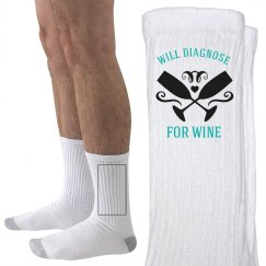 Nurse Wine Diagnosis Socks
