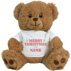 Custom Name Merry Christmas Bear