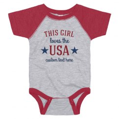 This Girl Loves The USA Custom Text Onesie