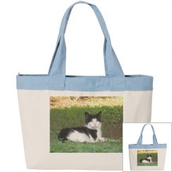 Zippered Tote with Cat Photo