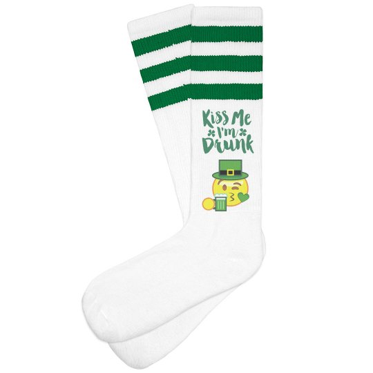 8b44a3b245a Kiss Me Drunk Irish Emoji Unisex Striped Knee-High Socks