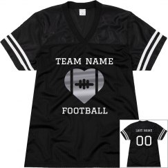 Metallic Heart Custom Football Mom