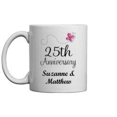 25th Anniversary Butterfly Mug