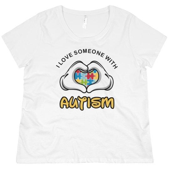 940d6600516 I Love Someone Autism Mom Plus Size Promo Ladies Curvy Plus Size Scoopneck T -Shirt