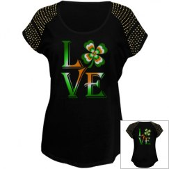 Love Ireland Clover, Ladies Bling Top