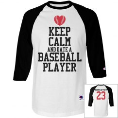 Funny Keep Calm Date Baseball Player With Custom Number