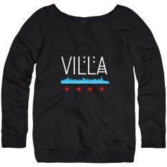 Villa Chicago Skyline Flag Wideneck Fleece Sweatshirt