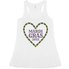 Mardi Gras Bead Heart
