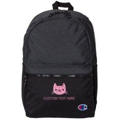 Custom Name Glitter Kitty Cat Kids School Backpack