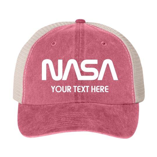 Cotton Twill Snapback Trucker Hat. Customizable NASA Logo Gift Hat 5d67d2947798