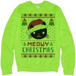 Neon Meowy Christmas Cat