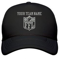 Tailor-Made Your Team Name FFL Logo Black Trucker Hat