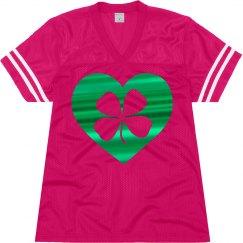 Green Metallic Shamrock Heart