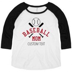 Custom Text Baseball Mom Tee