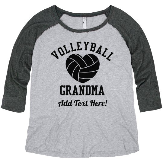 13f137f825 Custom Volleyball Grandma Ladies Curvy Plus Size Raglan Baseball T-Shirt
