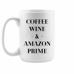 Coffee, Wine & Amazon Prime Mug