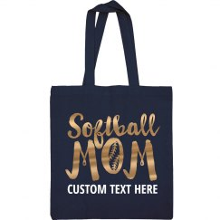 Metallic Custom Softball Mom Tote