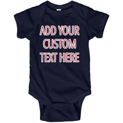 Red, White, & Blue Custom Text Baby